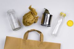 Different types of household garbage. Top view Stock Photos