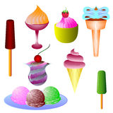 Different types of  ice cream Royalty Free Stock Photography