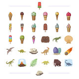 Different types of ice cream and other web icon in cartoon style. Royalty Free Stock Photos