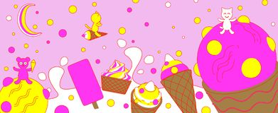 Different types of ice cream wiht with cats and a bear in cartoon style on pink background. stock illustration