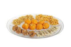 Different types of Indian sweets and snacks Royalty Free Stock Photos