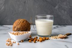 Different types ingredients of non-dairy milk and glass of milk. Organic substitute, alternative lactose free milk type for vegan. Coconut, oat, soy, almond stock photo