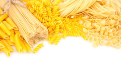 Different types of pasta on white Royalty Free Stock Image