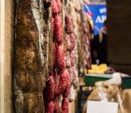 Different types of Italian salami Stock Image