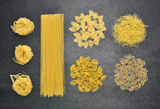 Different types of Italian uncooked pasta Royalty Free Stock Images