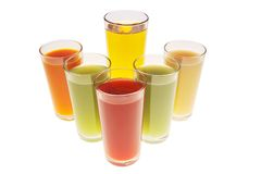Different types of juices Stock Photos