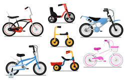 Different types kids bicycle isolated vector set. Different types bicycle for kids set. Tricycle and classic bikes for boy and girl, children toy isolated vector vector illustration