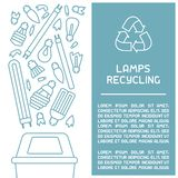 Different types of lamps with names. Line style vector illustration.Iinfo cards. There is place for your text vector illustration