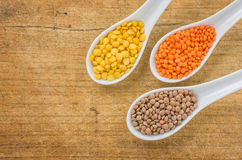 Different types of lentils on porcelain spoons Stock Photos