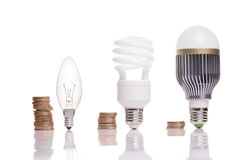 Different types of light bulbs. Money spent on different types of light bulbs royalty free stock photo