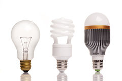 Different types of light bulbs. On white bavkground royalty free stock image