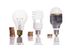 Different types of light bulbs Stock Photos