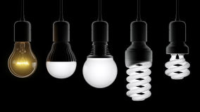 Different types of light bulbs Royalty Free Stock Images