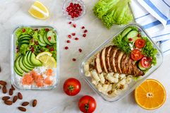 Different types of lunch boxes. Top view, flat lay. Delicious healthy lunch. The concept of healthy eating stock images