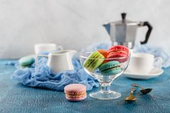 Different types of macaroons Stock Photo