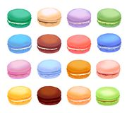 Different types of macaroons. Set of different taste cake macarons. Realistic style. Different types of macaroons. Set of different taste cake macarons vector illustration