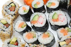 Different Types of Maki Sushi in Sushi Set Stock Photo