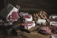 Different types of meat food photography recipe idea Royalty Free Stock Photos