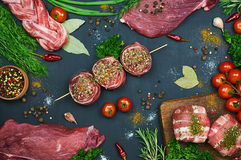 Different types of meat. Fresh butcher cut meat assortment on dark background. Decorated with vegetables and spice. Top view. Close-up Stock Photos