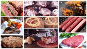 Different types of meat, montage. Meat collage including burgers, grilled chicken, pork chops and florentine style steak stock video footage