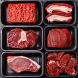 Different types of meat in plastic boxes Royalty Free Stock Images