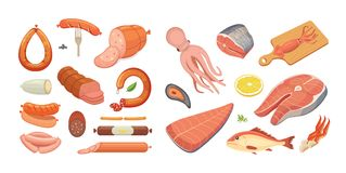 Different types of meat products and fish set. Isolated set. Food on white background. Menu design in cartoon style Stock Photography