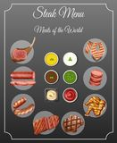 Different types of meats and sauces on steak menu. Illustration Stock Photography