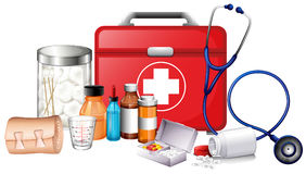 Different types of medical equipments. Illustration Royalty Free Stock Photo