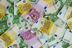 Medicines and the euro. Different types of medicines with a banknote background, many types of medicines lie on euro banknotes Royalty Free Stock Photos