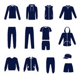Different types of men's clothes for sport Stock Photos