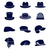 Different types of men hats Royalty Free Stock Photography