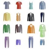 Different types of men's clothes as color icons Royalty Free Stock Photo