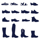 Different types of men's footwear Royalty Free Stock Photos