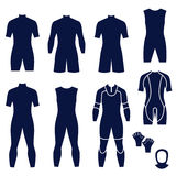 Different types of men's suits for swimming and diving Stock Image