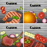 Different types of menu on gray background. Illustration Royalty Free Stock Images