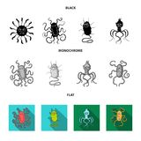 Different types of microbes and viruses. Viruses and bacteria set collection icons in black, flat, monochrome style. Vector symbol stock illustration Stock Photo