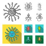 Different types of microbes and viruses. Viruses and bacteria set collection icons in monochrome,flat style vector. Symbol stock illustration Stock Photography