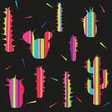 Different types of modern decorative striped cacti on a black background. Color vector seamless patter vector illustration