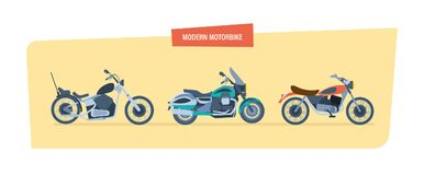 Different types of modern motorcycles: sports, biker motorcycle, classic. Royalty Free Stock Photo