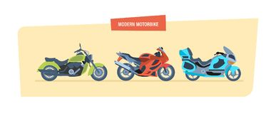 Different types of modern motorcycles: sports, biker motorcycle, classic. Royalty Free Stock Photography