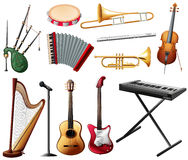 Different types of musical instrument on white. Illustration Royalty Free Stock Photo
