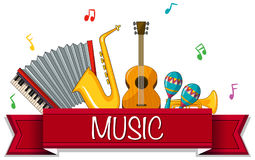 Different types of musical instruments with banner Royalty Free Stock Photo