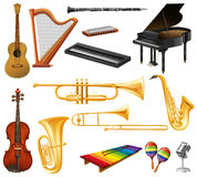 Different types of musical instruments Stock Image