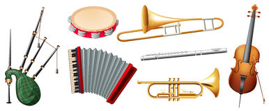 Different types of musical instruments Royalty Free Stock Photography