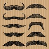 Different types of mustaches. Retro style. Stock Photo