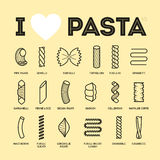 Different types and names of pasta guide Stock Images