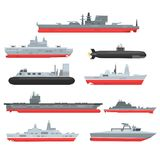 Different types of naval combat ships set, military boats, ships, frigates, submarine vector Illustrations. On a white background stock illustration
