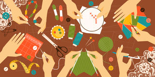 Different types of needlework. Vector illustration Royalty Free Stock Image