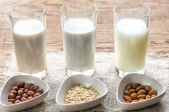 Different types of non-dairy milk royalty free stock photo