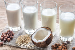 Different types of non-dairy milk Stock Photos